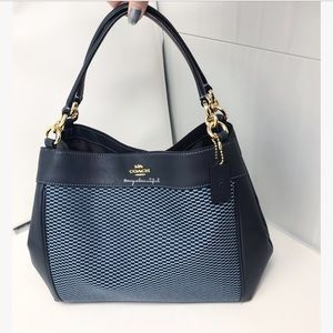 Coach Lexy Shoulder Bag Legacy Jacquard Blue